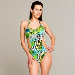 Other - GREEN LEOPARD PRINT ONE-PIECE SWIMSUIT
